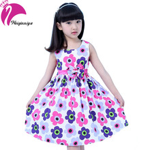 New Design Summer 2016 Girl Dress Cotton Sleeveless Pastorale Flower Kid Sundress Party Birthday Girls Clothes
