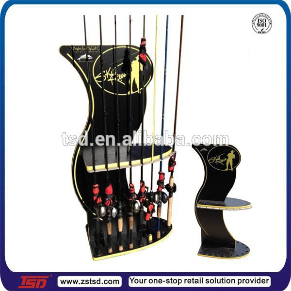 retail store  floor fishing rod display stand,fishing rod rack,fishing rod display shelf