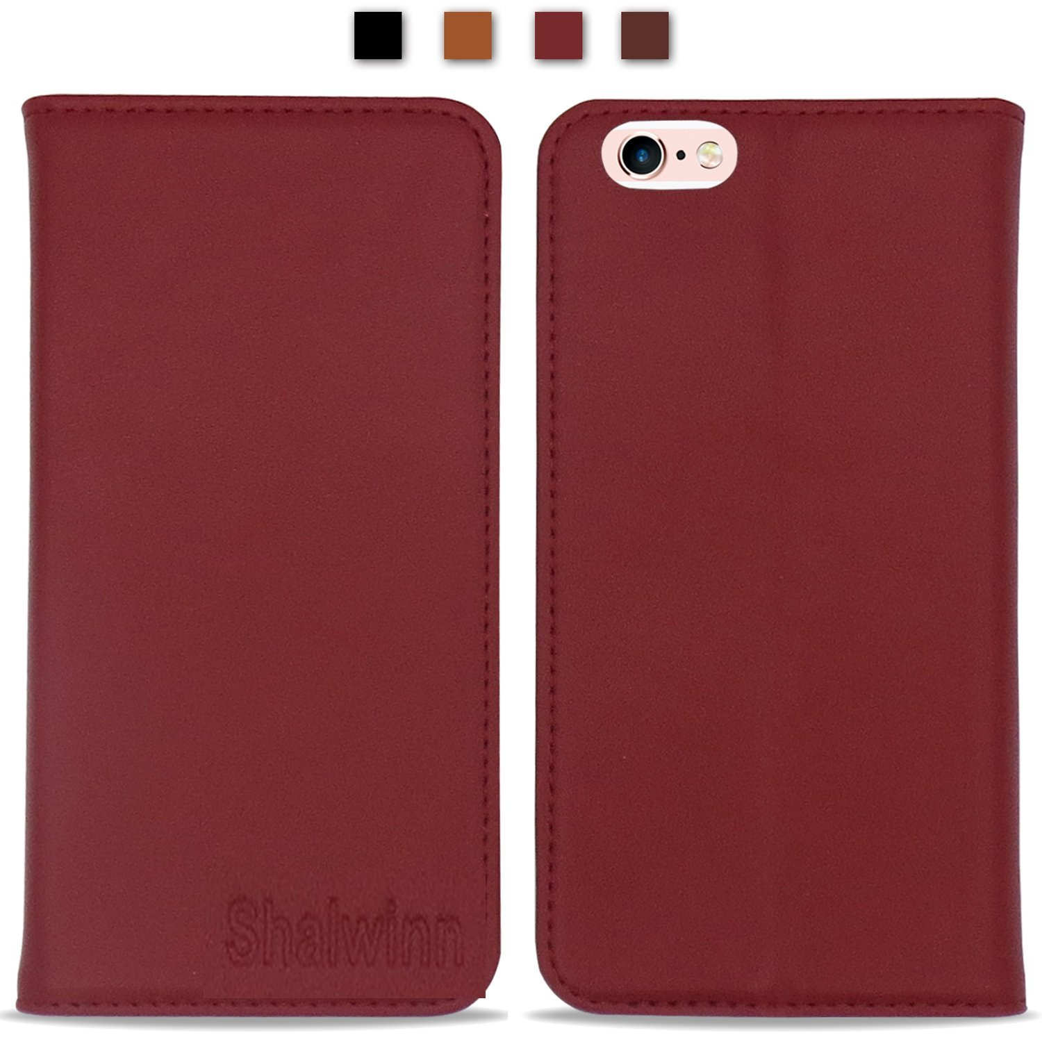 iPhone 6 Case iPhone 6S Case, Shalwinn Genuine Leather Wallet Case, Classic Folio Case with Stand and Card Slots, Magnetic Closure for iPhone 6 and iPhone 6S, (Red)