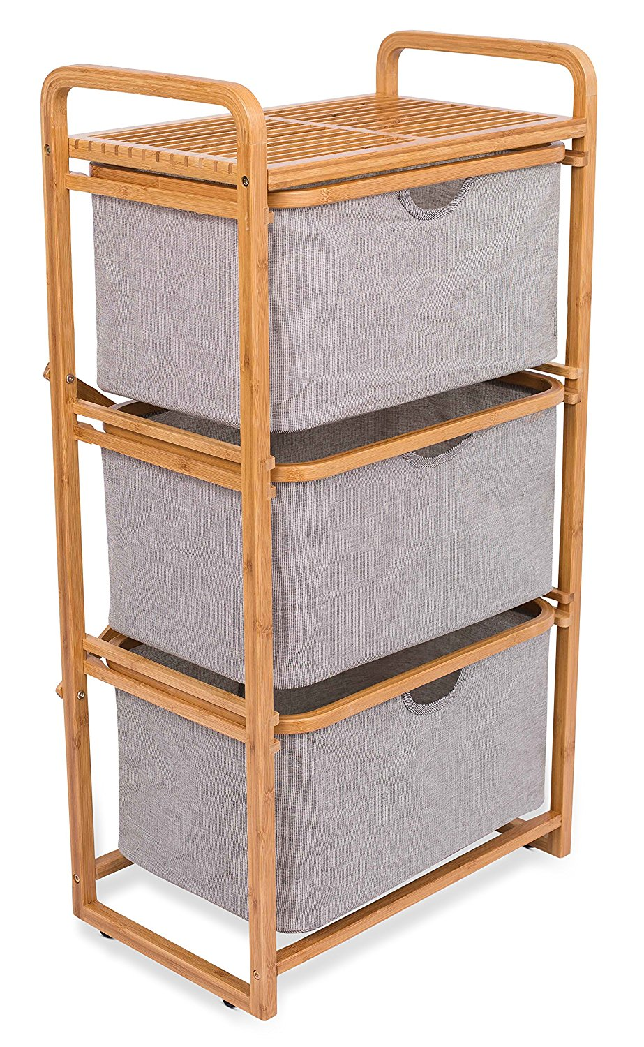 BirdRock Home 3 Drawer Bamboo Dresser | 3 Tier Sliding Cloth Storage Bins  Chest Of Drawers