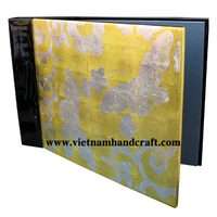 High quality eco-friendly handmade black & gold lacquer family photo albums with silver leaf butterflies