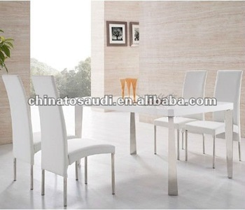 Modern Tempered Gl Dining Table And White Chairs Chrome View