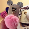Pink Plush Ball Pendant Phone Case For iPhone 6/7, Cute Mouse Ears Design For iPhone 6/7 Plus Case
