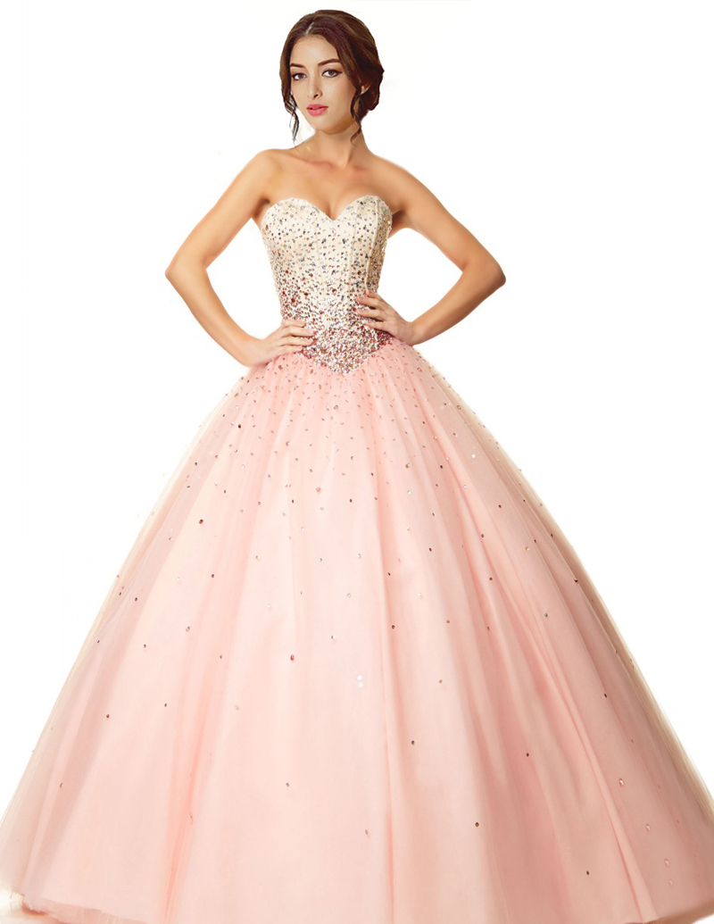 93ec940a341 Get Quotations · 2015 Hot Selling Light Pink Quinceanera Dresses Sweetheart  Beading Bodice Organza Ball Gown Party Dress