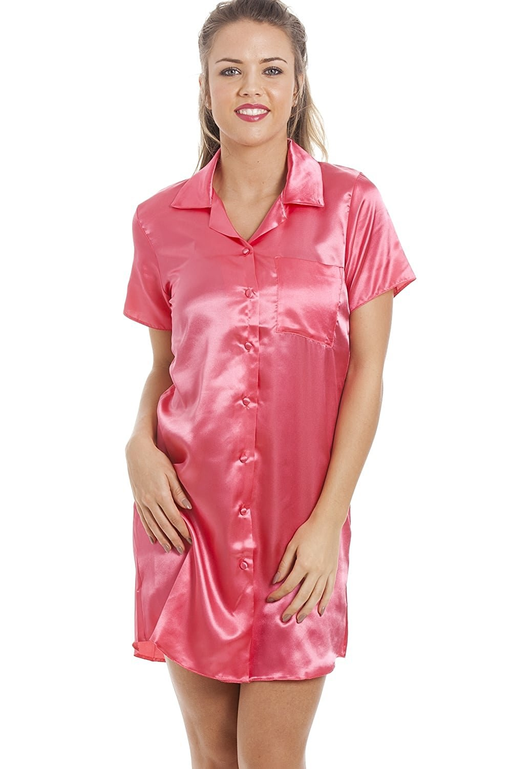 42fcf9a463 Get Quotations · Camille Womens Ladies Luxurious Knee Length Coral Pink Satin  Nightshirt
