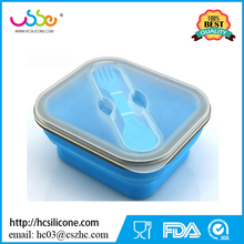 Collapsible Silicone Kids Food Storage Lunch Box with One Compartments and Utensil