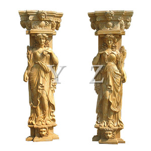 Henan yellow marble lady style house pillar designs for home decoration