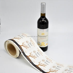 Custom waterproof rough texture paper adhesive label, glasses bottle wine label sticker