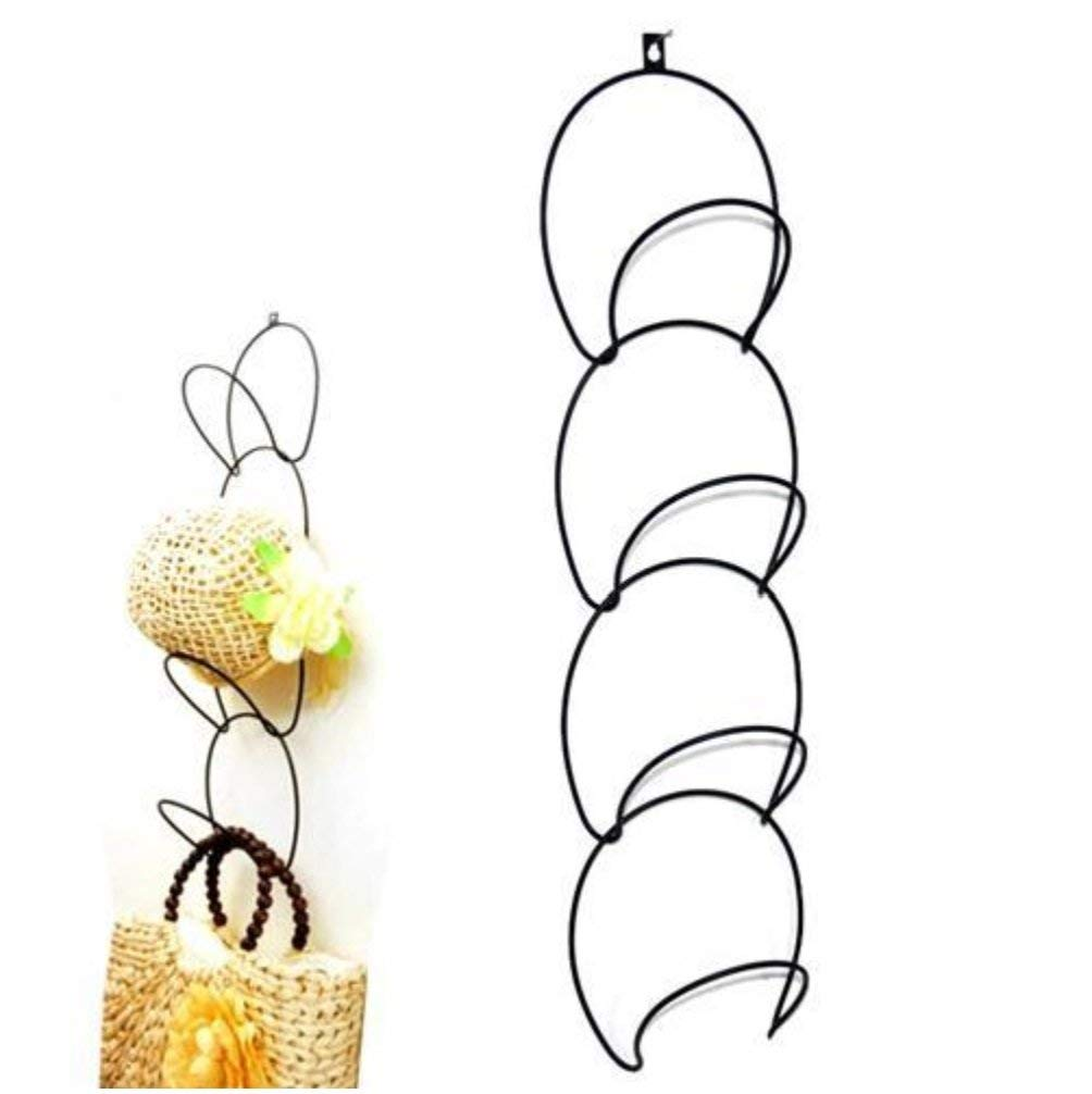2 Sets Metal Wire Over-the-door Stackable Hat Rack Wall Mounted Hanging Storage Hook for Clothes Bag Scarf Cap Closet Rack (Black)