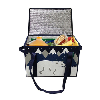 Aluminium Foil Christmas Insulated Lunch Cooler Box Bag For Water And Food