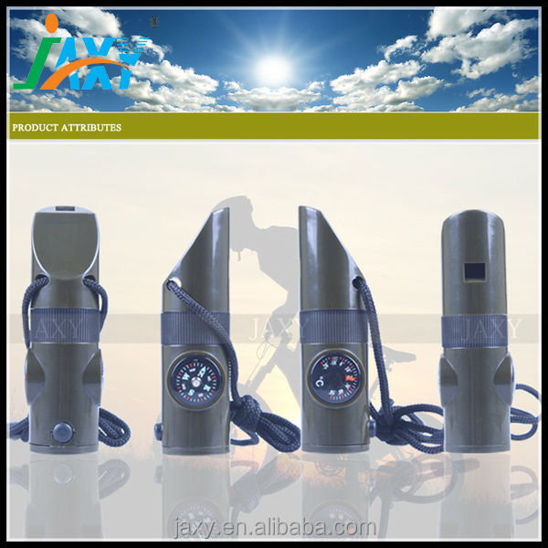 7 in1 life whistle LED whistle with compass, magnifier,thermonmeter whistle key chain