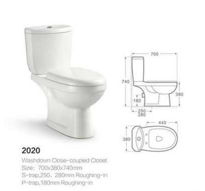 Popular washdown close-coupled bathroom two piece toilet ceramic sanitary ware