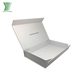 Luxury White Gift Folding Flat Apparel Packing Paper Box With Ribbon Gold Foil Logo