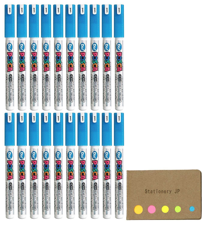 Uni Posca Paint Marker Pen PC-1MD, Extra Fine Point, Shiny Color Blue Ink, 20-pack, Sticky Notes Value Set