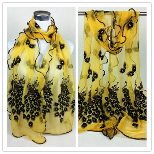 New designs elegant Peacock print scarves/girl pattern beach scarf/lace neck women scarf