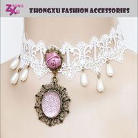 new custom promotion white lace style ladys hawaiian party necklaces
