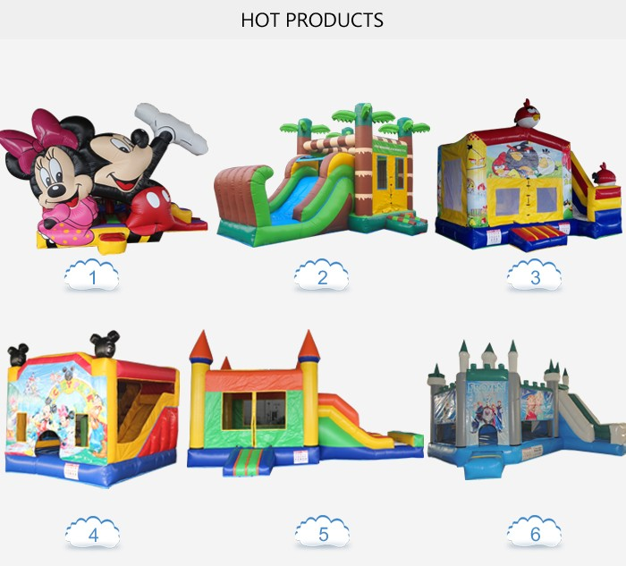 2016 popular mickey mouse inflatable jumping castle with slide for indoor