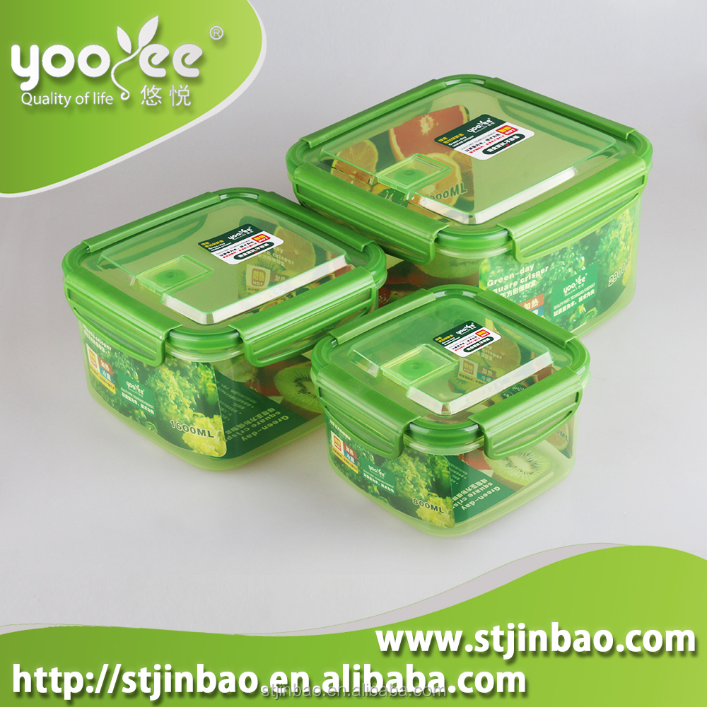 BPA Free Airtight Plastic Fridge Container with Silicone Seal Lid 3pcs Set