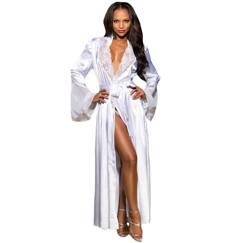 Hot Selling Wholesale White Glamour Valentine Long Robe Sleepwear Women Sexy Lingerie