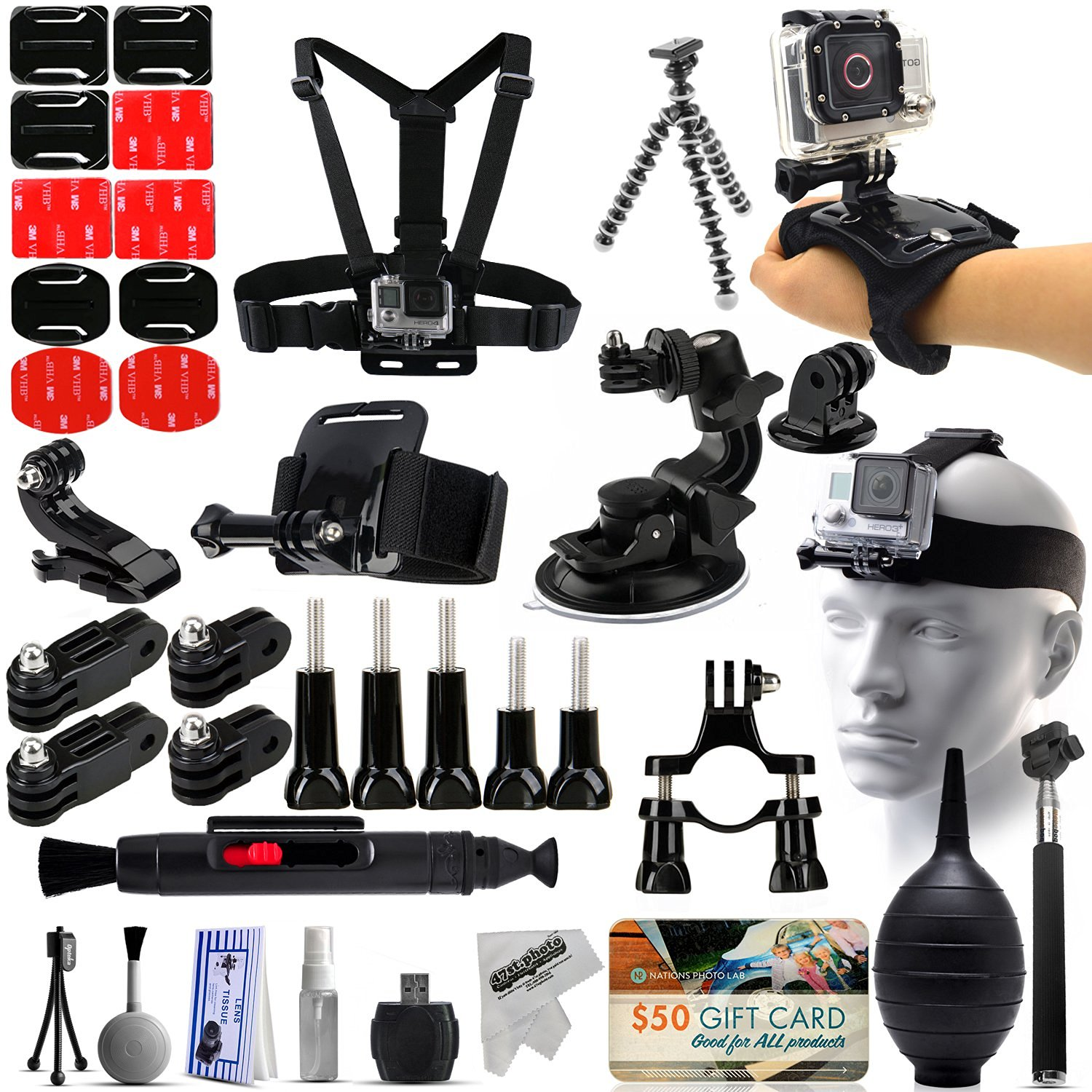 50-in-1 Biker Set with Body Cheast Strap + Flexible Tripod + Suction Cup + Head + Hand + Wrist + Handlebar Seatpost Mount + Monopod Accessories Kit Bundle for GoPro Hero 4 3 3+ 2 Black Plus Session