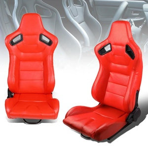 Red Body Stitch Fully Reclinable PVC Leather Car Racing Seats with Double Sliders JBR1053