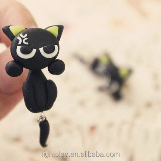 Hand-made Polymer Clay Cheap Stud Earrings Angry black cat