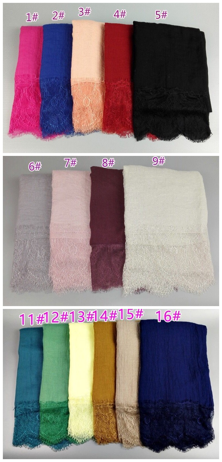 wholesale high quality Cotton short Lace hijab  Women Wrap Head India Muslim Scarf Hijab
