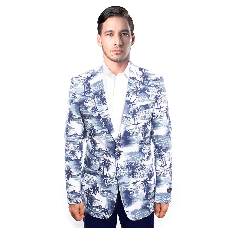 4a1b8ab19b1 Get Quotations · Mens Suit Jacket Blazers One Button Stylish Floral Pattern Tuxedo  Blazer Jacket