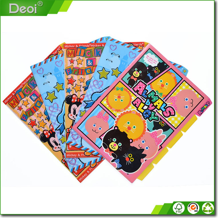 2015 Creative design 5 pockets pp plastic L shape file folder with 5 dividers which made in Shanghai OEM factory