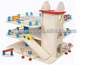 wooden kids educational diy toys 3 storey garage