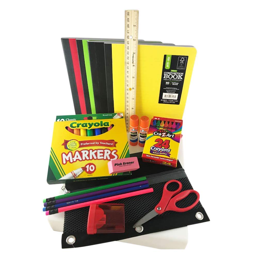 Back to School Bundle/Starter Kit - Great for Grade School - Includes Black MESH Supply Pouch, notebooks, Ruler, Markers, Crayons, Pencils, Pencil Sharpener, Eraser, and Glue Sticks