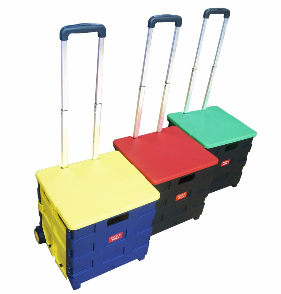 JIEMA Cart Two-Wheeled Collapsible Hand cart with Lid Rolling Utility Cart with seat heavy duty plastic lightweight