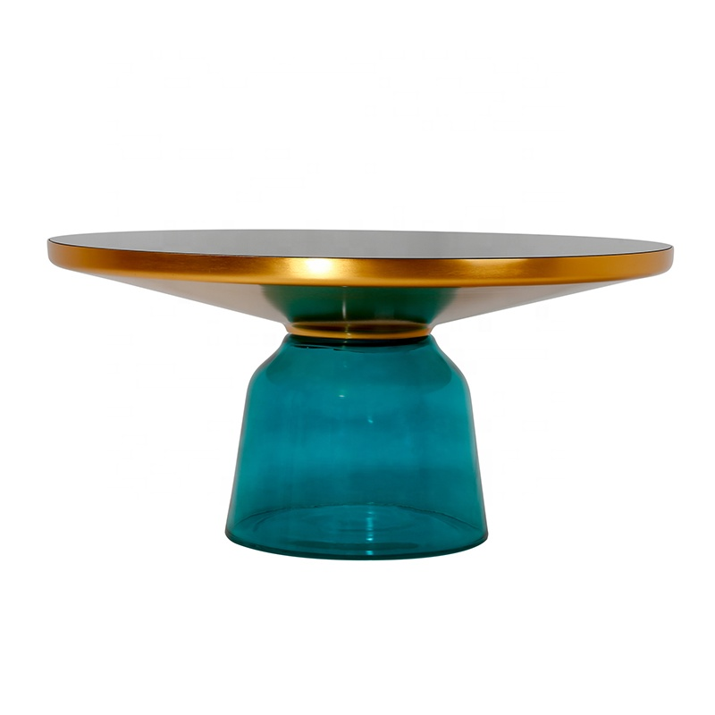 Modern Designer Furniture Colorful Mirror Glass Bell Coffee <strong>Table</strong>