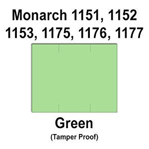 96,000 Monarch 1151 compatible Green General Purpose Labels to fit the Monarch 1151, 1152, 1153, 1175, 1176, 1177, 1180 & 1471 Price Guns. Full Case + includes 16 ink rollers.