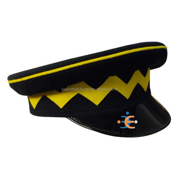 Hand Made Military Style Uniform Peak Cap,Fire Service,Scouts And Security  Officer Uniform Peak Caps - Buy Uniform Caps Or Hats,Black Military Peaked