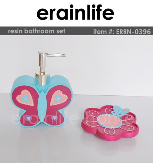 butterfly kids bathroom accessory sets