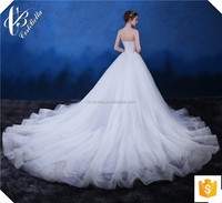 Latest Design Gorgeous Luxury White Lace Fabric Appliqued Wedding Gown Strapless Alibaba Sweetheart Beautiful Wedding Dress