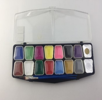 Face Paint Pack 12 colors face paint+ 2 brushes+ 2 sponges+ 1 10ml silver glitter power, private label
