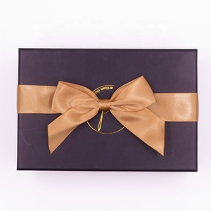 Pre-made chocolate gift wrap satin ribbon bow with stretch loop