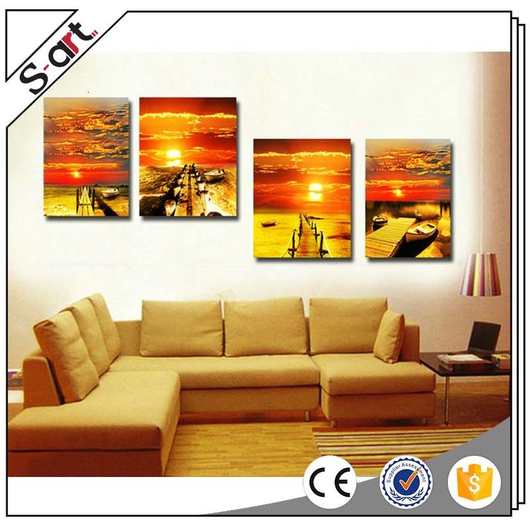Eco-friendly competitive price sunset photos group canvas printing