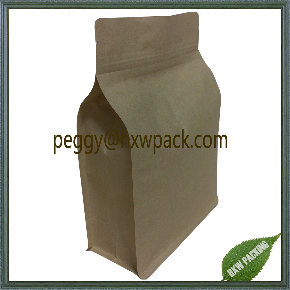 Kraft paper box pouches for food packaging,flat bottom side gusset kraft paper food bag