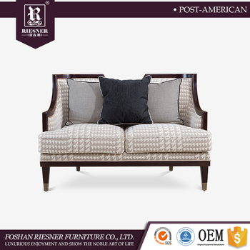 American Post Modern High End Furniture Living Room sofa fabric , soild wooden sofa furniture double person sofa