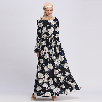 Good Looking Islamic Clothing Maxi Floral Printed Heavy Polyester Beautiful Girls Jordan Kaftan Muslim Fashion Dress