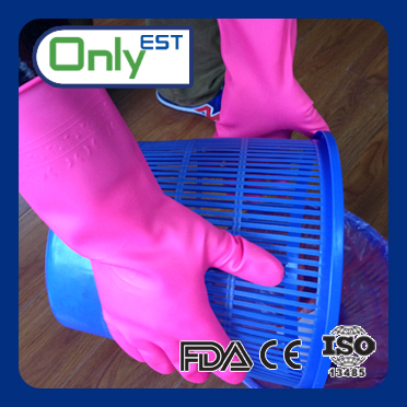 Cleaning long arm pink color good selling household pvc gloves