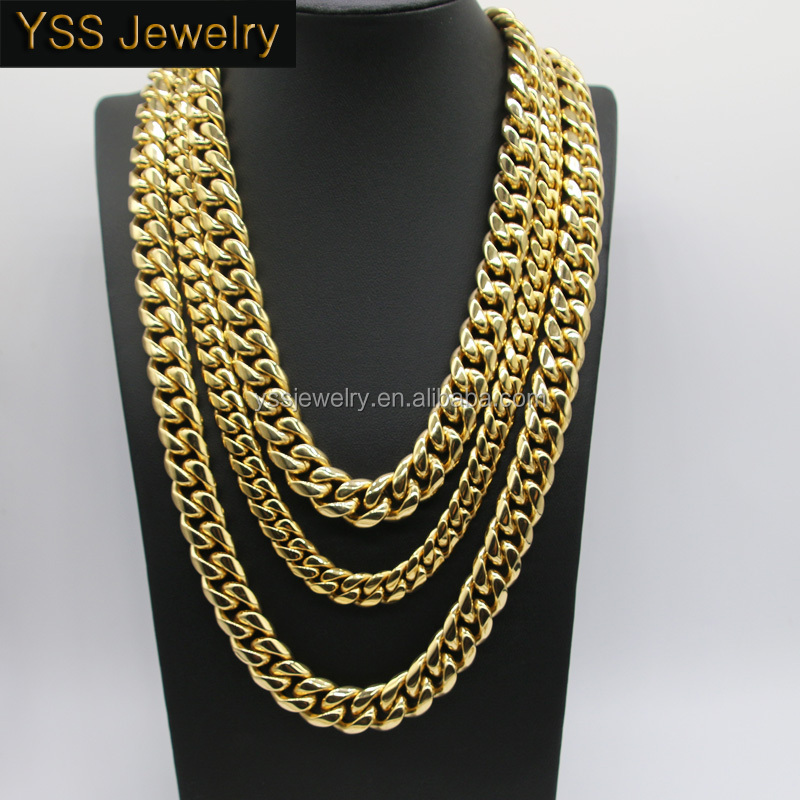 sz item gold chain lifetime authentic s solid cuban necklace mens men gf unconditional link filled