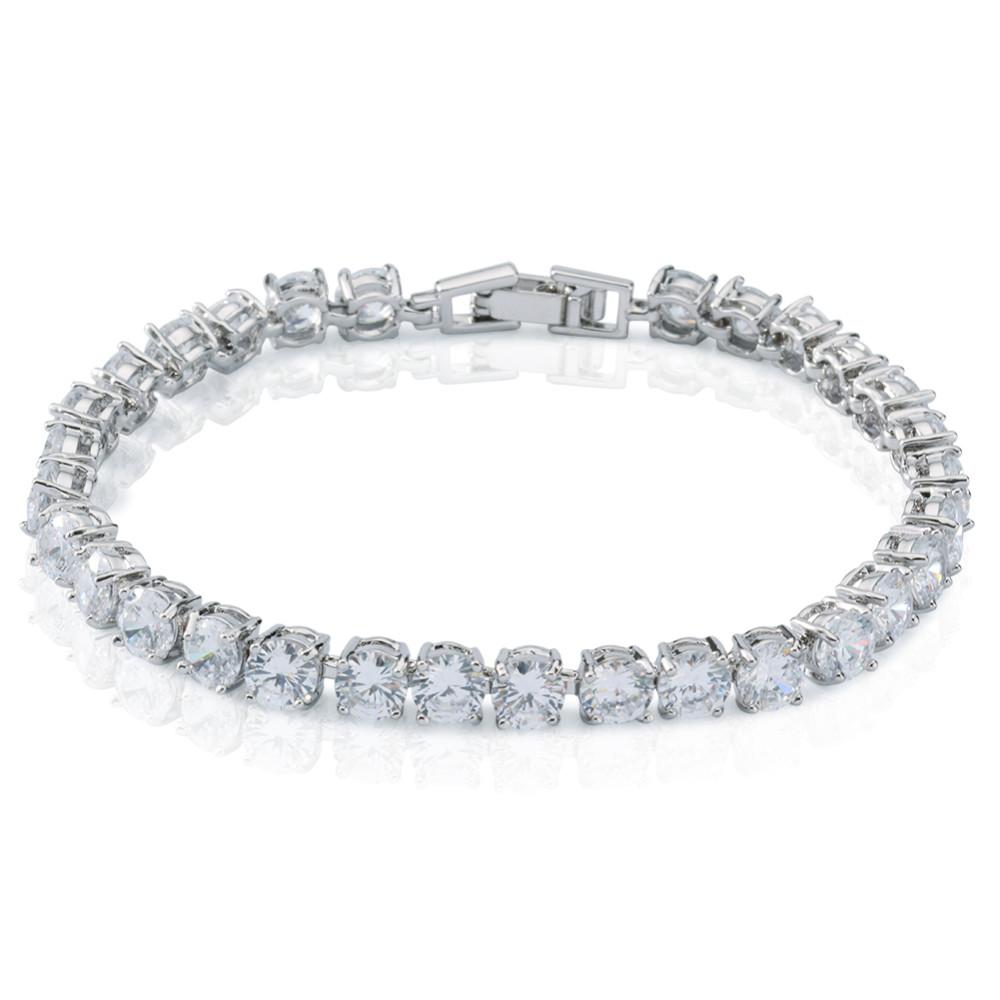 Fashion 925 silver jewelry white gold plated alloy cz cubic zirconia charm tennis bracelet for women,girl