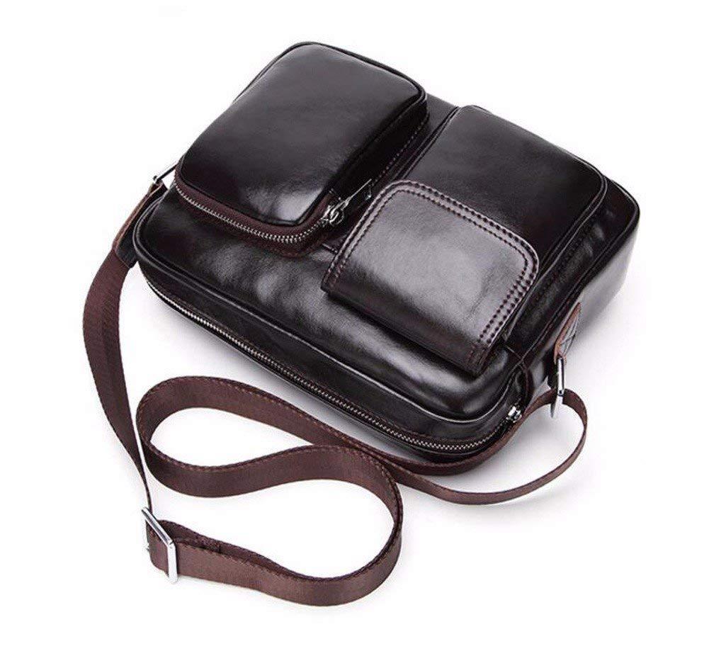 Surnoy Men's Single Shoulder Bag, 10 inch Horizontal Leather Cross Bag, Men's Business Satchel, Dark Brown.