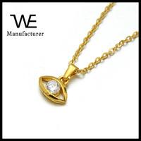Fashion Gold Stainless Steel Diamond Evil Eye Charm Pendant Necklace