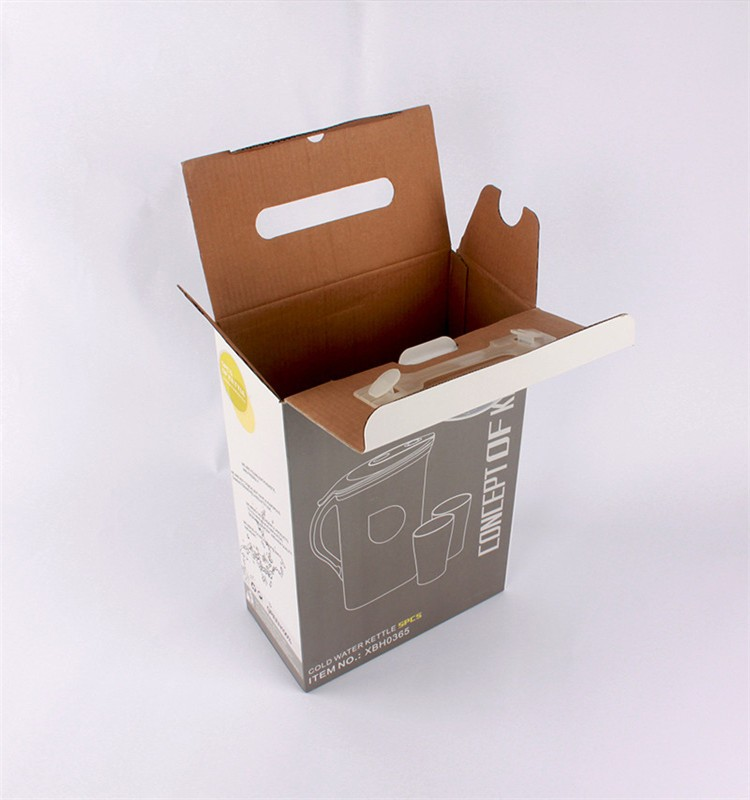 Corrugated Paper Carton Box With Plastic Handle For Cup Storage Packing