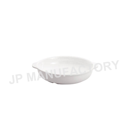 White Melamine Round Two Side Handle Dish